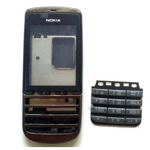 Корпус для Nokia 300 Asha черный c клавиатурой