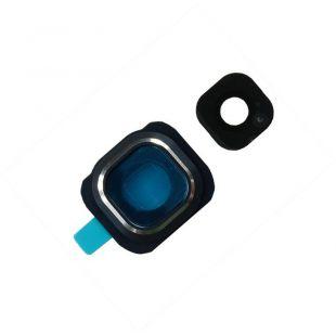 Стекло тыловой камеры защитное для Samsung G920F черное на рамке