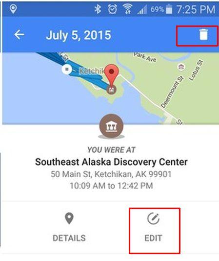 Удаление истории Гугл карт