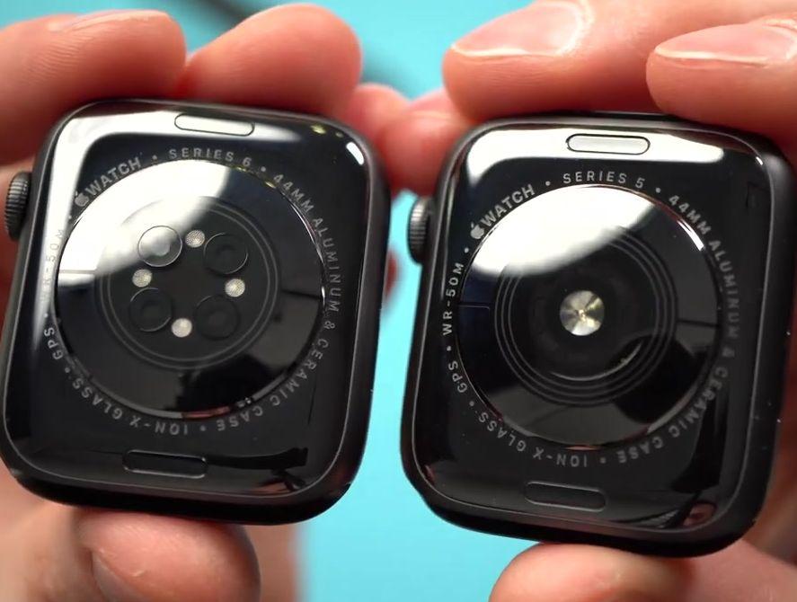 Датчики задней панели в умных часах Эппл пятой и шестой серий